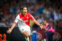 Monaco's player Falcao celebrate his goal during the French League one soccer match between Bordeaux and Monaco at the Chaban-Delmas Stadium in Montpellier southern FRANCE - 10/08/2013.
